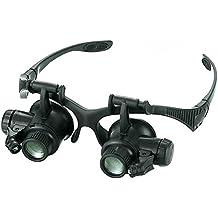 Babimax Loupe Agrandisseur Lunettes Loupe LED Réglable Loupes Horloger  Bureau Bricolage Bandeau Loupe Montre Magnifier 4 843942fe3947