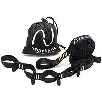 Travelax Sujeción para Colgar Hamaca Extra Fuerte, Cada cinturón soporta de 500 Kilos, Set de suspensión Ajustable para Hamaca con 44 pasadores, Soporte para Hamaca