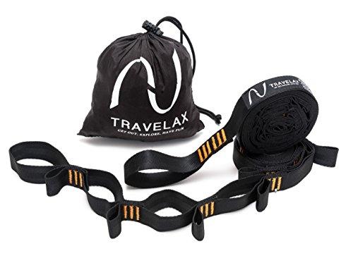 Travelax Befestigung Hängematte EXTRA STARK bis 500kg je Befestigungs-Gurt, Hängematten Aufhängung mit 44 Schlaufen