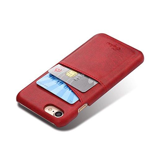 Cover per iPhone 6 Plus, Cover per iPhone 6S Plus Pelle, Bonice Custodia Ultra Sottile con Portabiglietti Posteriore Portafoglio in Autentica Pelle Case Cover per iPhone 6 Plus/6S Plus (5.5 pollici) + Rosso