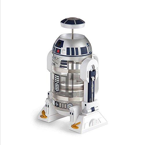 Star Wars, Roboter, Haus, Mini, Hand, Kaffeemaschine, Wärmer, Kaffeemaschine Mocha, French Press (Kunststoffschale ohne Bisphenol A + Glas + Food Grade Edelstahl Plunger und Filter Assembly)