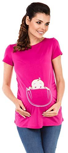 Happy Mama. Damen Baby in der Tasche T-Shirt Top Oberteil für Schwangere. 501p (Fuchsie, EU 44/46, 2XL)