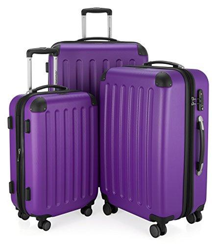 HAUPTSTADTKOFFER - Spree - 3er Koffer-Set Trolley-Set Rollkoffer Reisekoffer Erweiterbar, TSA, 4 Rollen, (S, M & L), Lila