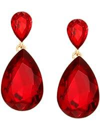 9c5bdd0f7bc5 Amazon.es  Pendientes Rojos - Cristal   Pendientes   Mujer  Joyería