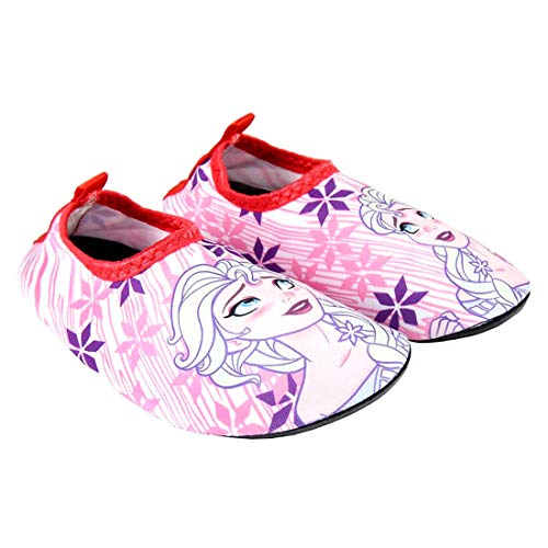 Schuhe rutschfest Meer Schwimmbad Strand Mädchen Die Eiskönigin Frozen ELSA Disney   Weiße und Pink   Größen von 23 bis 30 (25/26 EU)