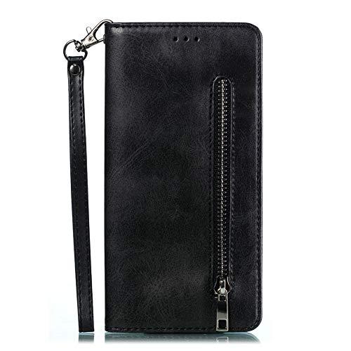 Cover Compatible with Samsung Galaxy M20 Hülle Ledertasche Reißverschluss Wärmeableitung Brieftasche Stand Tasche Stoßfest Premium Wallet für Samsung Galaxy M20 Smartphone (Black, Galaxy M20) - M20 Mobile