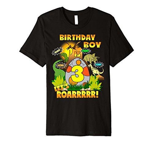Dinosaurier Geburtstag Shirt Age 3 Party Thema Outfit Jungen