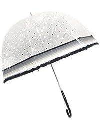 """Lollipops [P1033] - Parapluie canne cloche """"Lollipops"""" blanc noir transparent (marguerites) - 93 cm"""