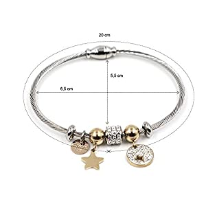 Bracciale Donna Rigido in Acciaio Chiusura Magnetica TOUCH ME MILANO con Ciondoli Charms a forma di Stella color Argento e Oro Rosa