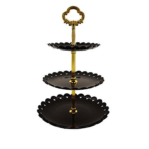 Tincogo 3-Tier Kunststoff Kuchen Stand-Dessert Stand-Cupcake Stand-Tea Party Teller serviert Schwarz (3-tier-schwarz-kuchen-stand)