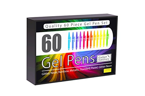 Set Of 60 Gel Pens - Gift Edition | Made To Last | Quality Pens With Fine Ink | Smooth, Anti Skip, Vibrant Colour - Neon , Pastel, Metallic, Glitter | A Great Range of Colours in This Gel Pen Set