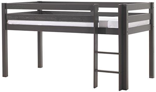 VIPACK PIHSZG15 Spielbett Pino, Maße 210 x 114 x 106 cm, Liegefläche 90 x 200 cm, Kiefer massiv taupe, ein warmes dunkel grau lackiert