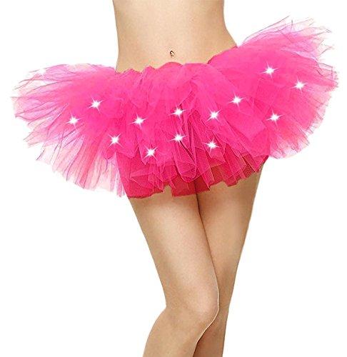 Comall Damen 5 Lagen LED Mini Tüll Tütü Rock Kostüm Party Tanz Abnutzungs Ballkleid Petticoat...