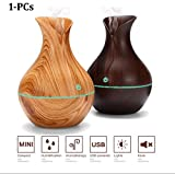HoneyDell Vase Style Aroma Diffuser Ultrasonic Cool Mist Big Pot Wooden Humidifier
