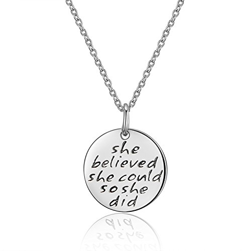 g Silver Engraved Message She believed she could so she did Inspirational Disc Pendant Necklace, Women Jewelry, Graduation Gifts ()
