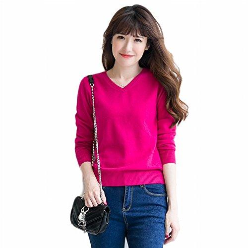 Good dress Kaschmir Pullover Allgleiches Pullover Allgleiches Pullover V-Ausschnitt Reine Farbe Primer Shirt Pullover , rosarot , 2XL