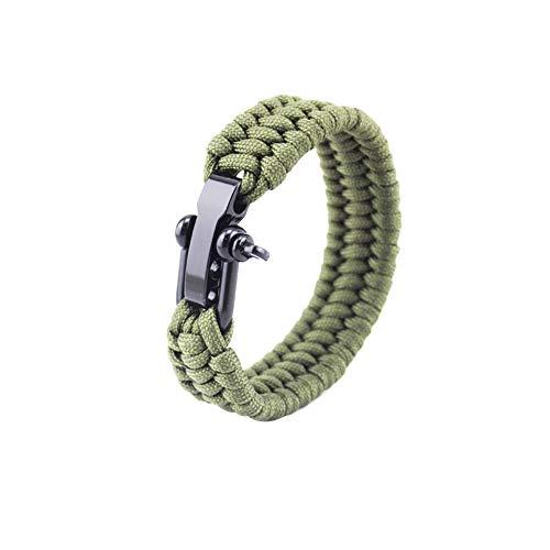 KEYkey Überlebens-Armband mit Verstellbarer Edelstahl Schäkel Paracord Armband Tactical-Seil-Schnur ultimative Armbänder für Camping Jagd-Armee-Grün 8-Zoll 1PC
