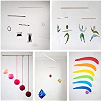 Set of 5 Montessori inspired mobiles - Black and white mobile, Pink Gobbi, Dancers, Octahedron, Rainbow. Montessori mobile. Baby mobile. Hanging mobile. Crib toy.