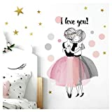 Little Deco Sticker Mural Deux Filles I Love You I M - 75 x 48 cm (LxH) I Tatouage...