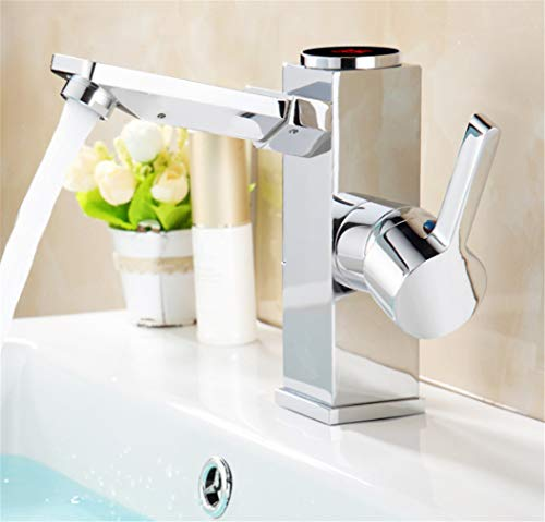 Wasserhahn Spültischarmatur Waschtisch Led Digital Waschbecken Wasserhahn Wasser Power Waschtischarmatur.Messing Verchromt Temperierte Anzeige Wasserhahn Smart Tap