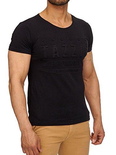 Tazzio Shirt Herren Shirt Kurzarm Prints Rundkragen Rundhals Schwarz