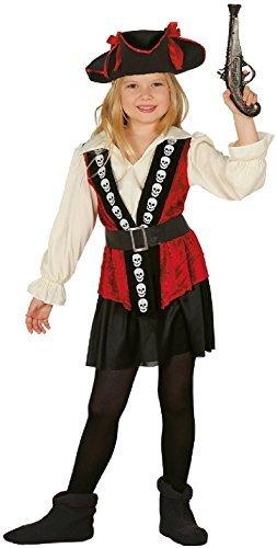 Mädchen Schädel Rebel Seeräuber Piraten Party Halloween Welttag des Buches Kostüm Kleid Outfit 5-12 Jahre - 5-6 years (Mädchen Piraten Schädel)