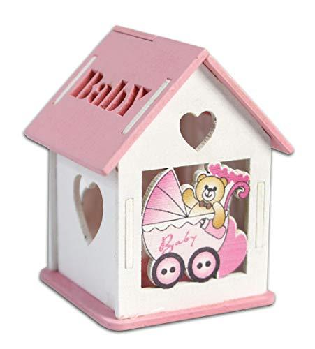 Vetrineinrete® scatoline portaconfetti 36 pezzi forma di casetta con tetto apribile per confetti per scatole con incisione cuore bomboniere segnaposto in legno per nascita battesimo (rosa)