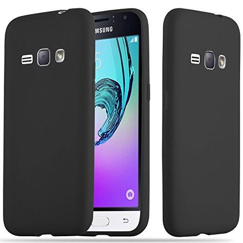 Cadorabo Hülle für Samsung Galaxy J1 2016 (6) - Hülle in Candy SCHWARZ - Handyhülle aus TPU Silikon im Candy Design - Silikonhülle Schutzhülle Ultra Slim Soft Back Cover Case Bumper