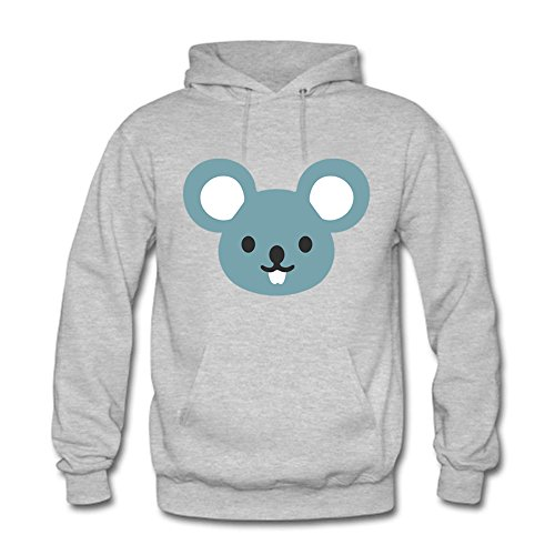 Men Cartoon Cute Mouse Pattern Cotton Long Sleeve Casual Hooded Pullover Sweatshirt M