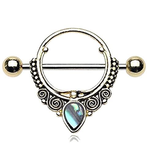 Golden Ranga Ornate Abalone Nipple Shield Ring