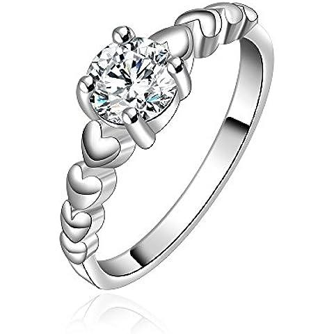 Hermosa joyería elegante NYKKOLA 925 de plata de ley con corazón en corazón anillo fino regalo de Navidad para señora de las mujeres