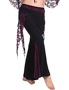 YI NA SHENG WU Pantalones tribales de danza del vientre para mujer Pantalones de traje de danza del vientre