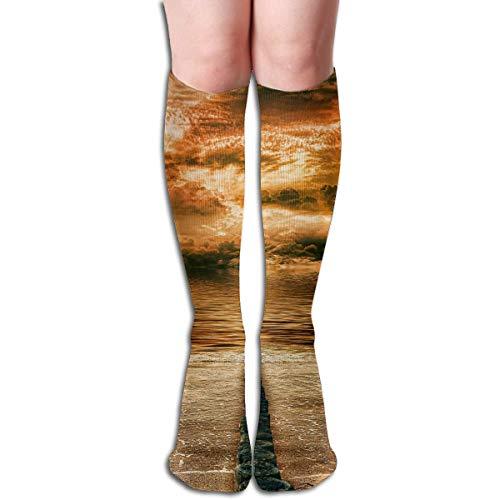 Sandy Kleid Kostüm Gelb - CVDFVFGB Compression Socks Sandy Beach Sea High Boots Stockings Long Hose for Yoga Walking for Women Man