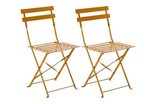 Lot de 2 Chaises Pliantes Elsa Mandarine en acier, 42 x 47 x 81 cm -PEGANE-