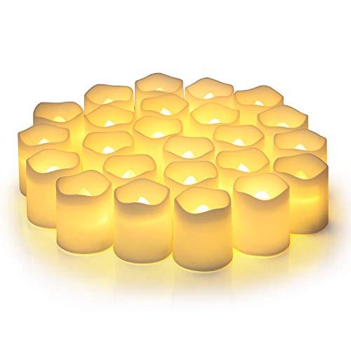 Velas votivas LED sin llama,velas de té, funciona con pilas, velas de parpadeo realistas, velas falsas eléctricas en blanco cálido y sin ondas,paquete de 12,ideal para bodas