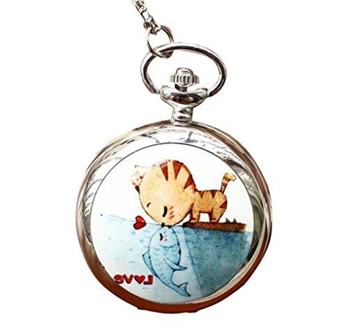 Unendlich U Fashion Katze und Fisch Liebe Küss mit Arabischen Ziffern groß Quarz Taschenuhr mit Spiegel,Silber