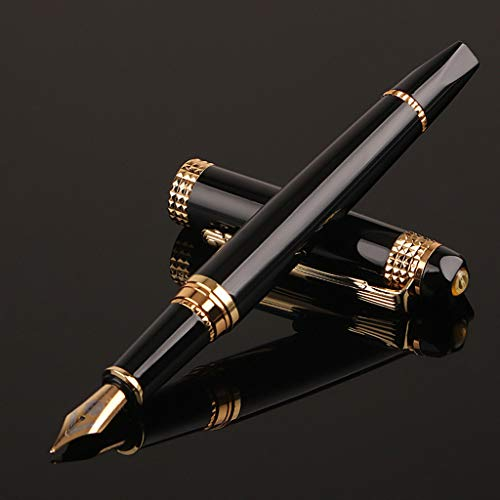 Meiqqm Luxus Herren Füllfederhalter Business Student 0,5 mm extra feine Feder Kalligraphie Büro Schule Schreibwerkzeug 13,5 cm Schwarz