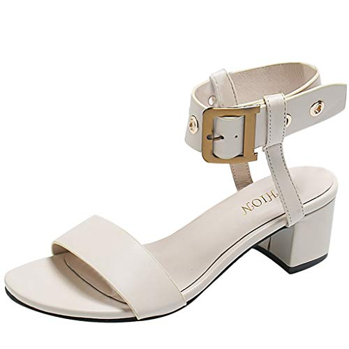 Damen Hoher Absatz,Mode Frauen Sommer pumpt Dicke Ferse Sandalen Eimer peep Toe Sandalen Damen bequem European Ins Style Flache Sandalen Frauen, LEORTKS