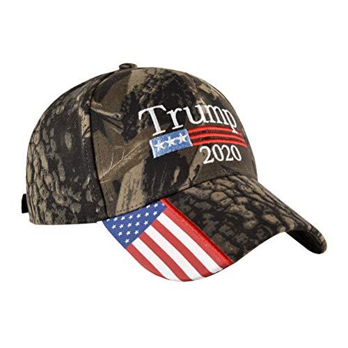 ze Amerikanische Flagge 2020 Trump Pattern Outdoor Cap Verstellbarer Hut Baumwolle Gewaschen für Frauen Männer ()
