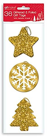 36 x Luxury GOLD Glitter & Foil Christmas Xmas Present