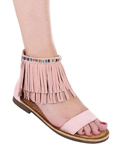 Damen Sandalen Schuhe Sommerschuhe Strandschuhe Western Look Fransen Schwarz Beige Rosa 36 37 38 39 40 41 Rosa