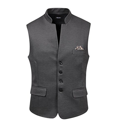 Zicac Mens Top Design Casual Sleeveless Vintage Style Slim Fit V-neck Vest Classic Waistcoat Business Blazer Suit Jacket Gilet (UK:XL (Asia Tag XXXXL), Grey)