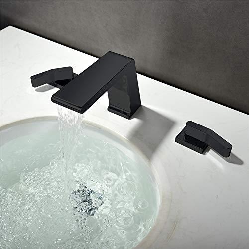 Preisvergleich Produktbild Gyy-tap Badezimmer-Mischer-Hahn,  Wasserfall-3 Loch-2 Handgriff-Edelstahl-Badezimmer-Becken-Hahn-Badewannen-Hahn-Schwarz-Sprühfarbe 3-teilige Waschtisch-Mischbatterie Heißer und kalter Hahn-Badezimmer