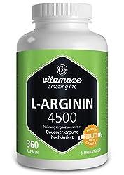 L-Arginin hochdosiert Kapseln 4500 mg je Tagesdosis - 360 Kapseln für 3 Monate - ohne Magnesiumstearat - Made in Germany