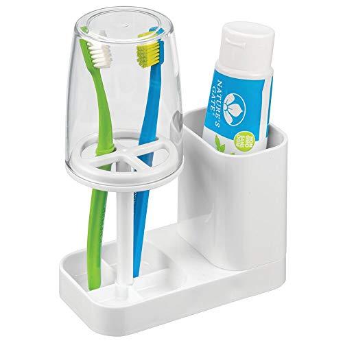 halter mit Becher - hochwertiger Zahnputzbecher mit Deckel fürs Bad - Halterung für Zahnbürsten und Zahnpasta aus Kunststoff - weiß und durchsichtig ()