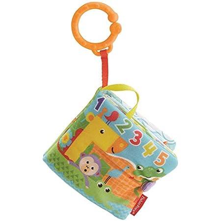 Fisher-Price FGJ40 – Kleines Spielbuch weiches Baby Buch, inkl. 1 abnehmbares Spielzeug, Babyspielzeug ab der Geburt