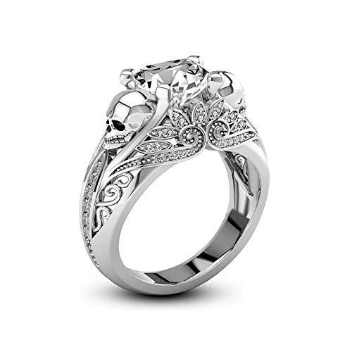 (Uloveido Rhodium überzogene Schädel Ring große Liebe Herz CZ Solitaire Ring Gothic Hallows Party Ring Allerheiligen Geschenk für Frauen (Größe 59) KR003)