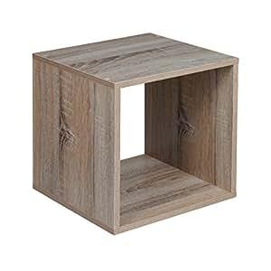 URBN LIVING ® 1, 2, 3, 4 ripiani, in legno con Contenitore scaffale Libreria, Scaffale in legno, quercia anticata, Cube