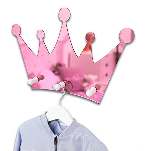 (S2) Kinderzimmer Kinder-Spiegel Garderobe Kindergarderobe, Babyzimmer Wandgarderobe, Kleiderhaken, Wandhaken, Kindermöbel, Garderobenhaken Maße 40 x 27 cm, (Rosa) -