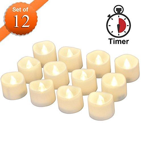 Conmemorativa LED Velas con temporizador, meiso 12unidades LED teelichter con temporizador, 6horas a y 18horas de, Eléctrico flackernde batteriebetriebene velas, luz blanca cálida